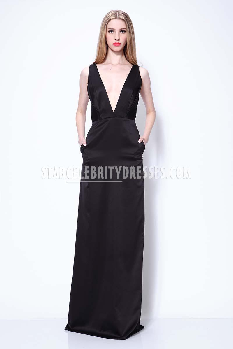 sexy deep v neck black evening prom