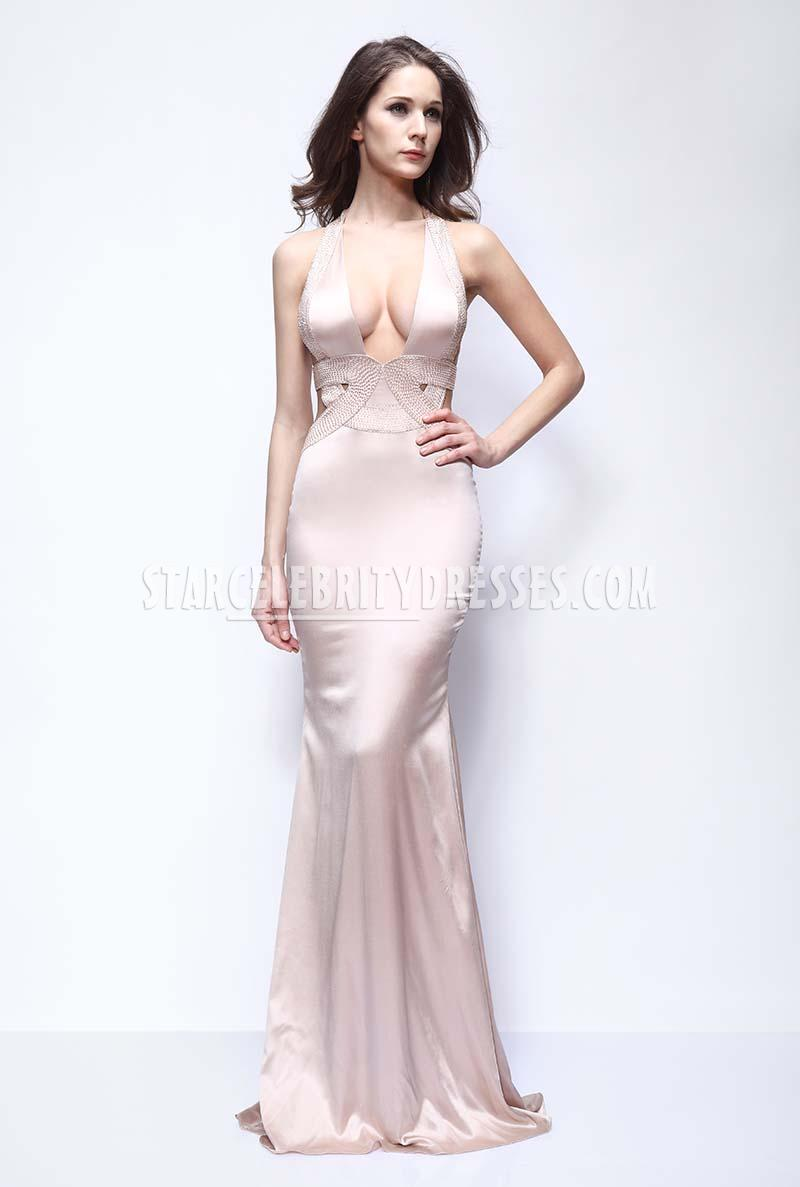 halter deep v neck mermaid prom dress met gala red carpet