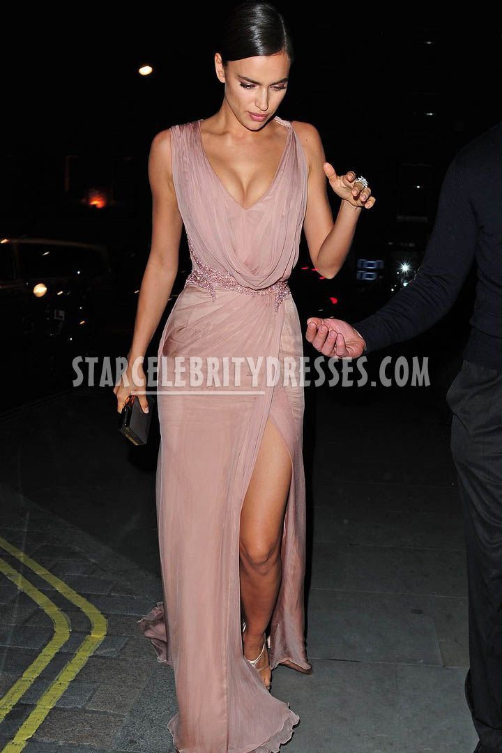 irina shayk slit nude chiffon v neck prom dress