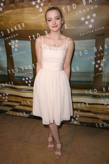 dove cameron blush lace and chiffon short sweet 16 dress ted baker ss 2016