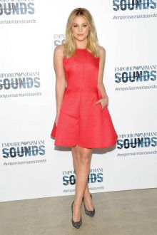0b37e8d8df02 olivia holt high fashion short red sweet 16 dress emporio armani sounds 2016