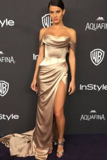 isabeli fontana sexy champage red carpet prom dress golden globes 2016