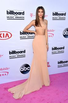 Zendaya red carpet celebrity style high waist peach prom dress on 2016 Billboard award