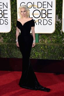 lady gaga 2016 golden globes in corseted sexy deep v neck off shoulder black celebrity prom gown
