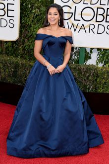 gina rodriguez navy off the shoulder celebrity prom gown at 2016 golden globe awards