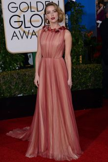 amber heard 2016 golden globes red carpet sleeveless prom celebrity dress