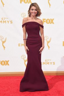 sarah hyland off shoulder wine color flared skirt celebrity prom gown at emmy award