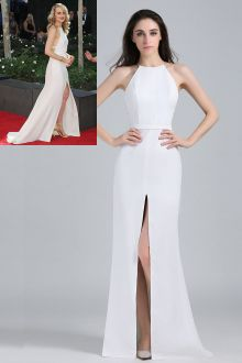 taylor schilling gorgeous chiffon long white celebrity evening gown with slit skirt at emmy awards red carpet