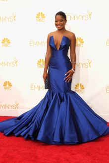 keke palmer rocks royal blue celebrity prom gown on emmys 2014 red carpet