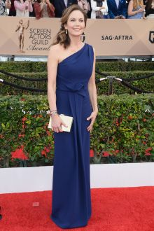 sag awards 2016 red carpet celebrity dress diane lane one shoulder navy prom evening gown