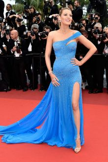 blake lively pregnant sequin blue one shoulder celebrity prom dress cannes 2016