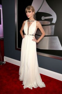 taylor swift cream chiffon couout sleeveless celebrity prom dress grammys 2013