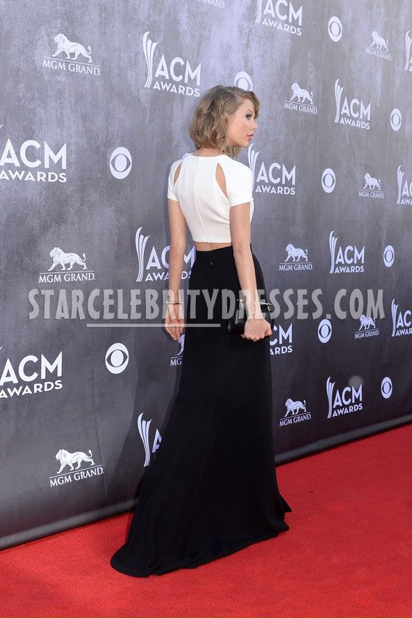 taylor swift black and white formal dress acm 2014