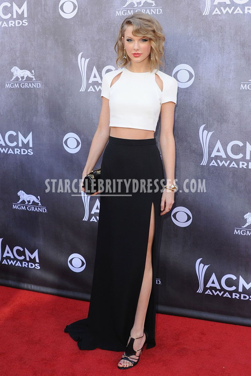 taylor swift black and white two piece celebrity long formal dress acm 2014