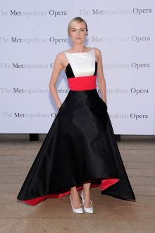 diane kruger red white black high low ball dress metropolitan opera season opening