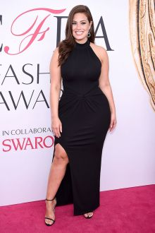 ashley graham plus size black slit celebrity prom dress cfda 2016