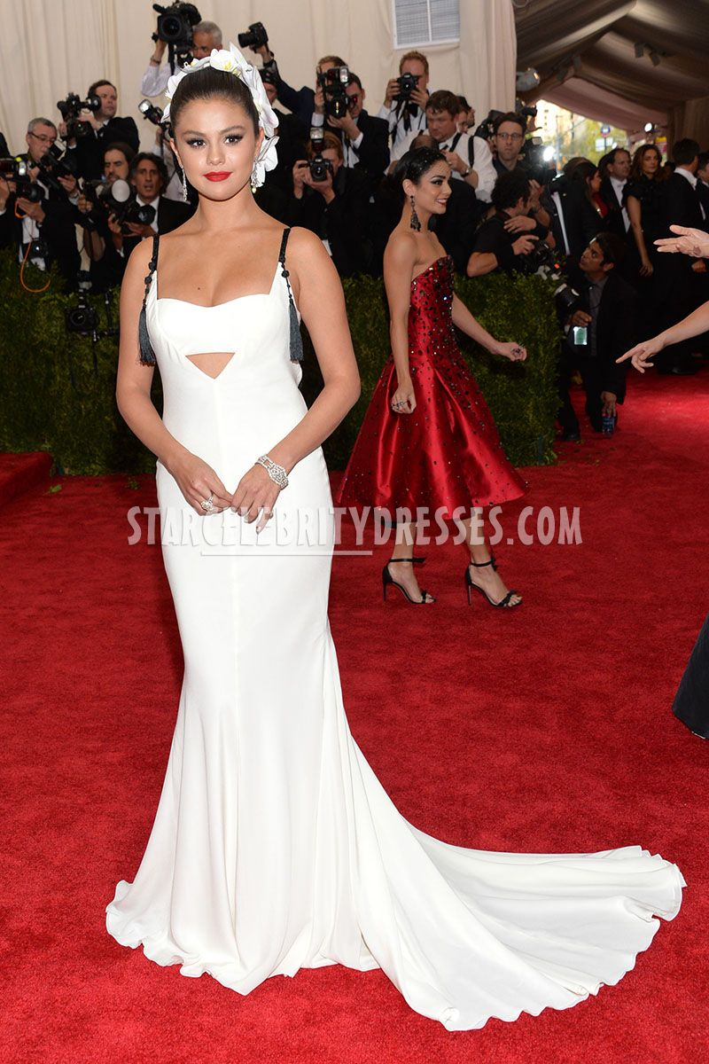 selena gomez white mermaid sweep train evening dress met gala 2015 red carpet