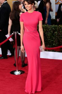 nina dobrev fuchsia pink floor length short sleeve slim evening dress sag 2013