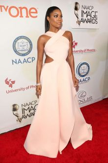 gabrielle union sexy criss cross cutout peach red carpet prom dress naacp 2015