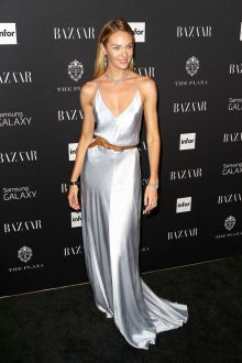 candice swanepoel silver v neck simple evening dress harper bazaar party