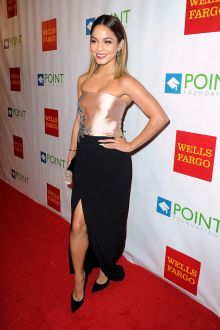 vanessa hudgens black strapless simple prom dress point foundations voices gala