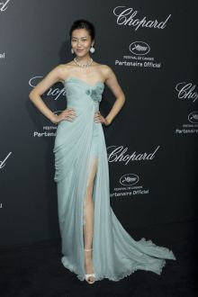 liu wen beautiful blue strapless sweet 16 dress cannes film festival 2014