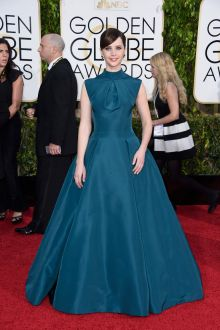 felicity jones teal high neck red carpet dress golden globes 2015