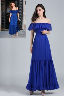 miranda kerr royal blue ruffled casual maxi prom dress