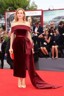 diane kruger unique burgundy velvet maxi prom dress venice film festival 2015