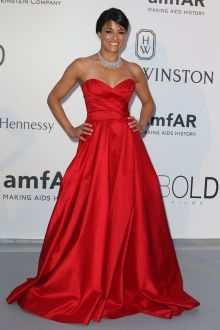 michelle rodriguez simple red satin strapless prom ball gown amfar gala 2015