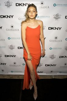 gigi hadid simple orange backless celebrity prom dress ovarian cancer dinner