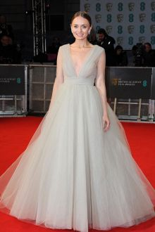 laura haddock grey tulle sheer long sleeve ball gown bafta 2015 red carpet