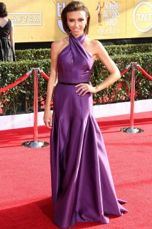 giuliana rancic purple satin halter vintage mermaid prom dress sag 2014
