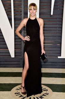 jessica hart black modern halter backless long prom dress vanity fair oscar 2015