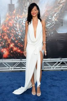 rihanna sexy open back halter plunging slit white prom dress battleship premiere