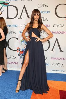 joan smalls sexy one shoulder cutout slit navy chiffon prom dress cfda 2014