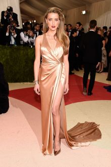 amber heard sexy champagne satin plunging prom dress met gala 2016 red carpet