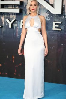jennifer lawrence silver satin cutout keyhole column prom dress x men premiere
