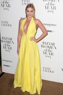 margot robbie casual yellow halter plunging backless prom dress women year 2014
