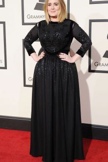 adele plus size sequin black long sleeve prom dress grammys 2016 red carpet