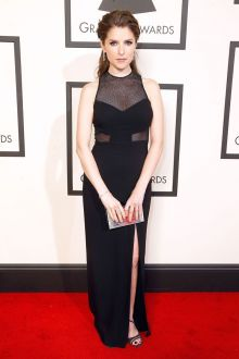 anna kendrick illusion sexy black column prom dress grammys 2016 red carpet