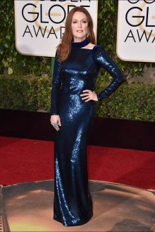 julianne moore navy blue sequin long sleeve evening dress golden globes 2016