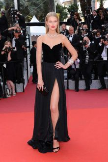 toni garrn sexy and unique black arc shaped v neck prom dress cannes 2016