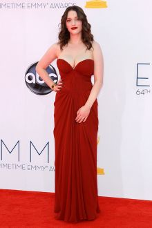 fashion red pleated chiffon long bridemsaid dress emmys 2012