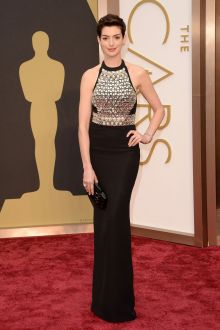 anne hathaway beaded halter crew neck sheath evening dress oscars 2014
