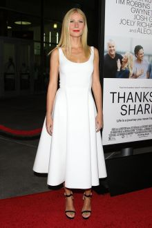 gwyneth paltrow semi formal white cocktail dress thanks for sharing premiere