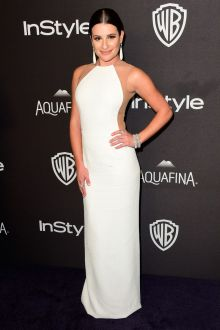 lea michele sleeveless sheer white long sheath prom dress golden globes