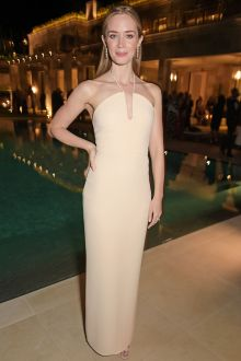 emily blunt simple pretty nude semi formal column evening dress cannes 2015