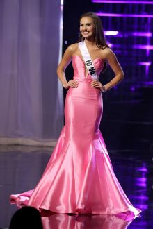 hannah brockhaus pink satin strapless trumept pageant dress miss teen usa 2016