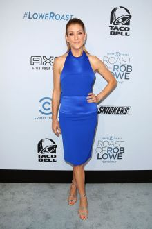 kate walsh blue satin halter sheath cocktail dress comedy central roast 2016